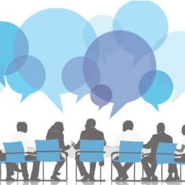 Characters around meeting table with quote bubbles above them